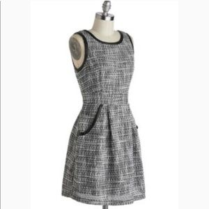 Tulle ModCloth jumper dress tweed leather trim xl